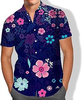 Camisa Praia Masculina Rosas Florais Summer Cores