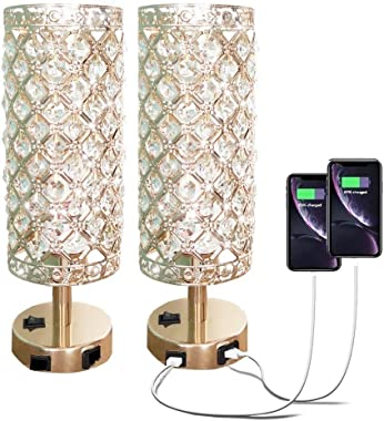 Pack of 2 Surpars House Crystal Table Lamp with Double USB Charging Port, On/Off Switch on Base,Bedside Lamp Nightstand Lamp,
