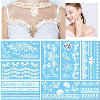 White Temporary Tattoos Large Fake Flash Lace Designs Gift for Women, 8 Sheets Sexy Boho Look Body Paint Henna Stickers for Halloween Costume, VIWIEU Waterproof Body Makeup Accessories for Wedding