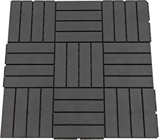 comprar comparacion Outsunny Baldosas Cuadradas para Suelos Antideslizantes Exteriores Interiores Paquete de 9 Piezas 0.81 m² 30x30 cm Negro