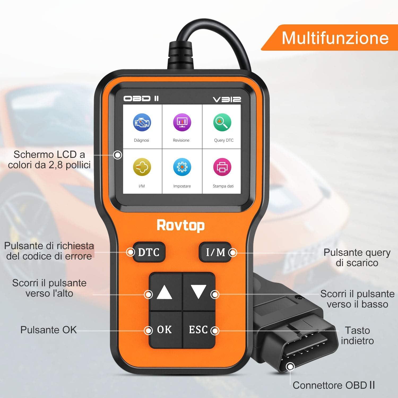Surveillance de la Tension de la Batterie /… Rovtop OBD2 Scanner Auto Diagnostic Lire et Effacer Le Code de D/éfaut du V/éhicule,OBD2 Diagnostic Surveillance des donn/ées en Temps r/éel