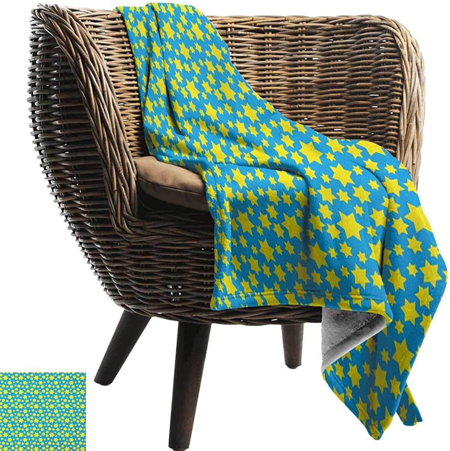 Sunnyhome Yellow and bluee,Throw Blanket,Stars Motif in Various Size Spiritual with Kids Effects Cute Design 60 x50 ,Super Soft and Comfortable,Suitable for Sofas,Chairs,beds