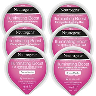 Neutrogena 露得清 Illuminating Boost 焕采霜状面膜 – 含有维生素 B3 的面膜 打造明亮的美丽肌肤 – 6 × 10 毫升