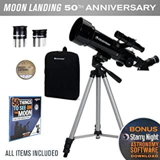 Celestron Travel Scope 70 Telescope - Limited Edition Apollo 11 50th Anniversary Bundle with Commemorative Coin and Book (Renewed)