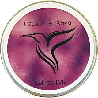 Lotion Bar/Massage Bar: Natural, Organic, Vegan, 2.4 ounces, Large, Lavender Essentail Oil, Made in the USA, Cruelty Free, in gift tin by Tatum & Shea