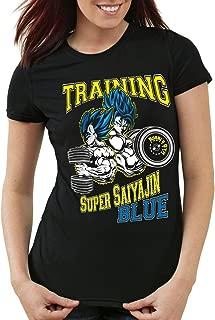 Training Super Saiyajin Blue Camiseta para Mujer T-Shirt God Z Goku Vegeta Roshi Ball