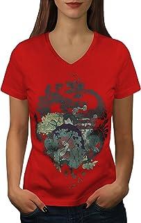 wellcoda Dragon Unique Womens V-Neck T-Shirt, Oriental Casual Design Tee