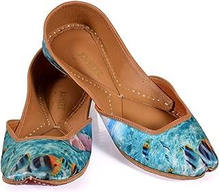 JOPELLE Sky Blue Rainbow fishHandcrafted Leather Punjabi Juttis Mojari for Women