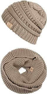 EVRFELAN Winter Warm Beanie Scarf Set Women - Knit Infinity Loop Scarf and Hat Sets for Men