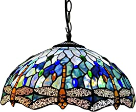 16 Inch Large Speckle Blue Dragonfly Tiffany Style Pendant Lighting for Living Room,Handmade Stained Glass Lampshade Chand...