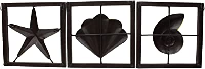 Lamcy Plaza Decorative Star Shell Snail Wall-Hanging Artwork Home Wall Decore|Wall Hanging |Showpiece|Decorative Showpiece (Metal, 37 x 2 x 12 Inches)
