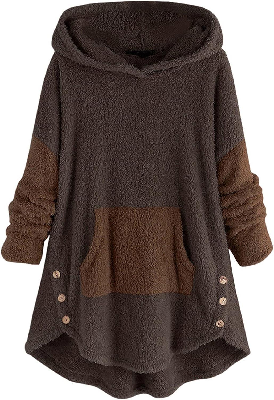 Plus Size Solid Hoodies,Women Button Hem Sweater Hooded Fleece Asymmetrical Pullover Top