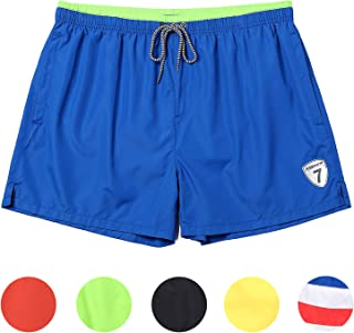 0505dc7de4 coskefy Mens Swimming Shorts Solid Swim Trunks Watershorts Board Shorts  Beach Surfing Shorts (14 inch