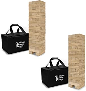 Yard Games On The Go Large Tumbling Timbers Wood Tower Stacking Outdoor Party Game with 56 Premium Pine Blocks and Nylon C...