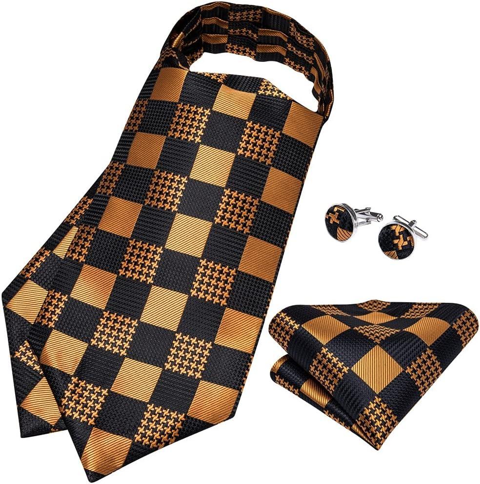 GANFANREN Silk Tie Set Gold Black Check Men Wedding Formal Necktie Self British Style Gentleman Cravat (Color : Gold Ring, Size : One Size)
