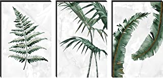 SAF Set of 3 Preety Green Leaf Modern Art MDF Self Adhessive UV Textured Painting 27 Inch X 12 Inch(Each Painting Size 12 ...