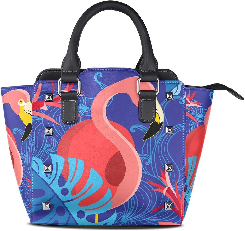My Little Nest Women's Top Handle Satchel Handbag Tropical Red Flamingo bluee Ladies PU Leather Shoulder Bag Crossbody Bag