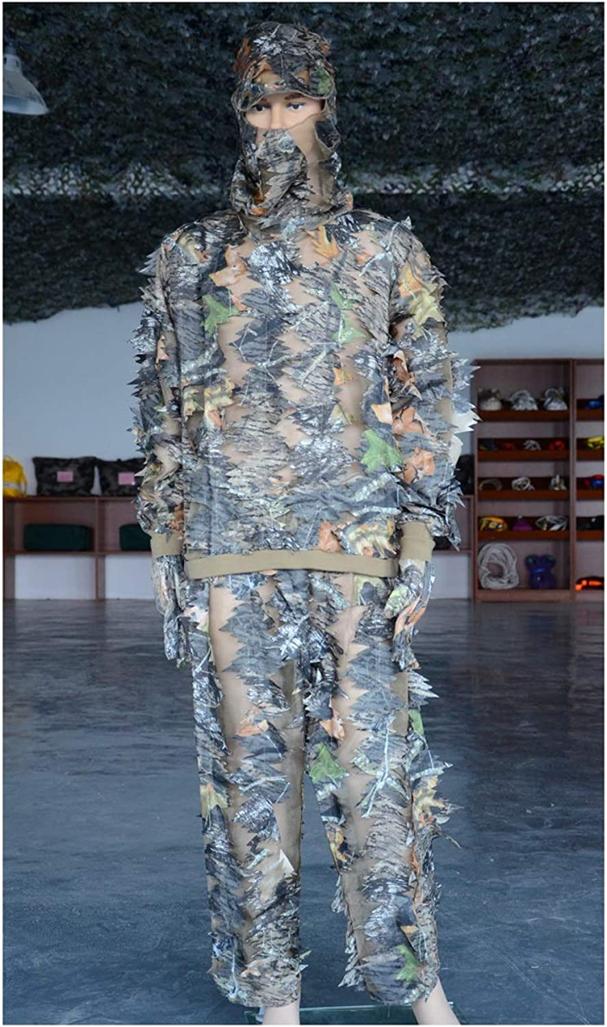 AKMQBZ 3D Outdoor Jungle Bionic Leaf Camouflage Hunting SuitOne Size, Polyester fabric + mesh gauze