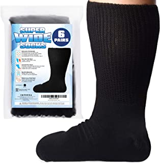 [6 Pairs] of Impresa Extra Width Socks for Lymphedema - Bariatric Sock - Oversized Sock Stretches up to 30'' Over Calf for...