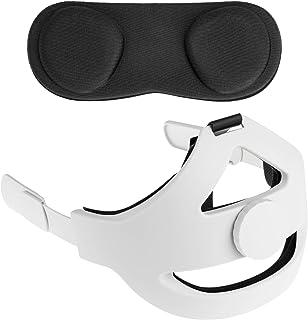NEWZEROL Sangle de Tête + Objectif Couvercle Anti-poussière [Noir] Compatible pour Oculus Quest 2 [Support amélioré] Régla...
