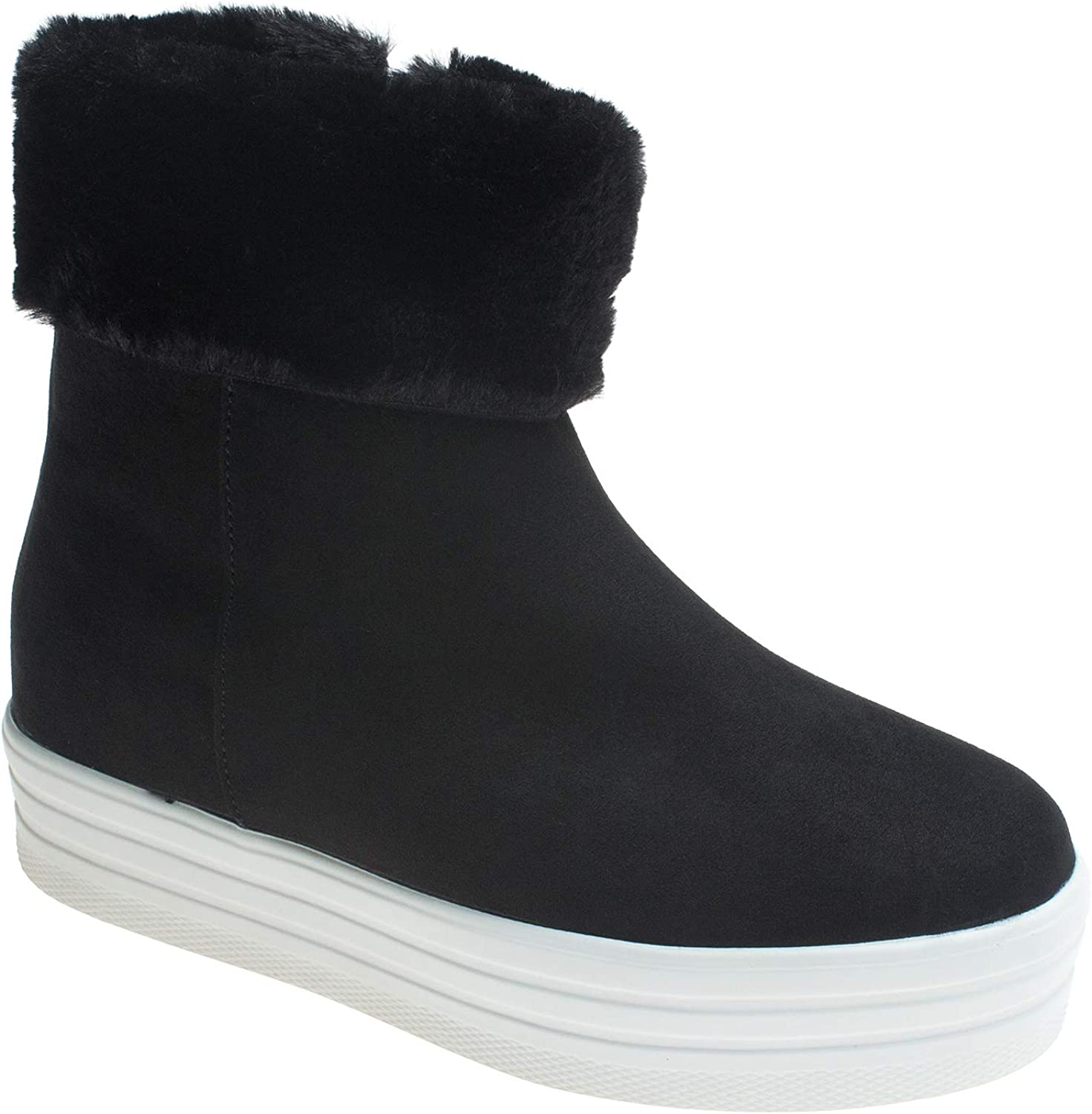 AnnaKastle Womens Fur Lined High Top Sneaker Winter Ankle Boots