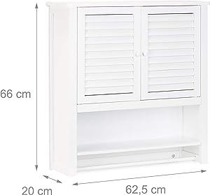 Relaxdays Armoire de salle de bain LAMELL à suspendre en blanc meuble en bambou rangement porte HxlxP: 66 x 62 x 20 cm, blanc