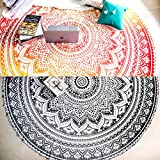Set of 2 Ombre Mandala Blanket or Round Mandala Tapestry. Hippie Indian Picnic Throw Table Cover, Boho Gypsy 100% Cotton Tablecloth Meditation Circle Yoga Mat - 72 Inches, Yellow and Black