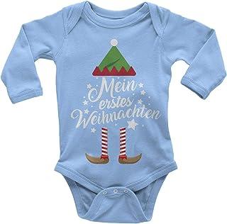 Mikalino Babybody mit Spruch für Jungen Mädchen Unisex Langarm Mein erstes Weihnachten Weihnachts-Elf   handbedruckt in Deutschland   Handmade with Love