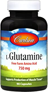 Carlson - L-Glutamine, Free Form Amino Acid 750 mg, Supports Production of Muscle Tissue, 90 Capsules