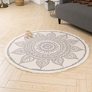 Cotton Woven Round Area Rug   Morocco Boho Floral Throw Rugs with Cute Tassels Fringe, Bedroom Living Room Children Playroom, Durable Heavy Fabric, 3.9 Feet