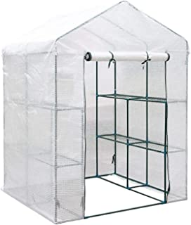Walk in Garden Greenhouse with Shelves, Green House Grow House Removable PE Cover, 4 Shelf Heavy Duty Growhouse,143 * 143 ...