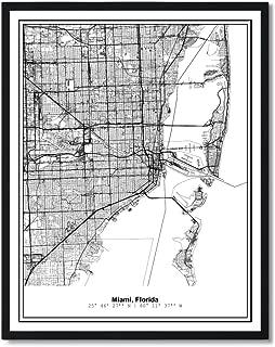 Susie Arts 11X14 Unframed Miami Florida Metropolitan City View Abstract Street Map Art Print Poster Wall Decor V276