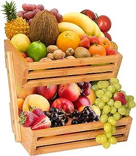Hossejoy 2-Tier Bamboo Fruit Basket, Bread Storage Stand, Vegetable Rack, Countertop Basket Bowl Holder Tray for Fruit, Vegetables, Snacks, Home, Kitchen and Office