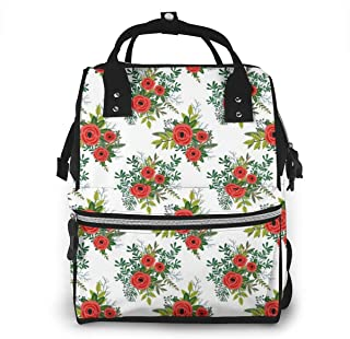 Winter Blooms White Multi-Function Travel Backpack Nappy Bag,Fashion Mummy Bag