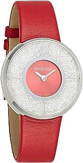 ساعة سواروفسكي للنساء بمينا لون احمر وسوار جلدي - 1144170، لون فضي، عرض انالوج