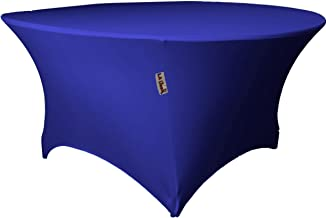 "LA Linen Round Spandex Tablecloth 48"" x 30"" High, Royal Blue"