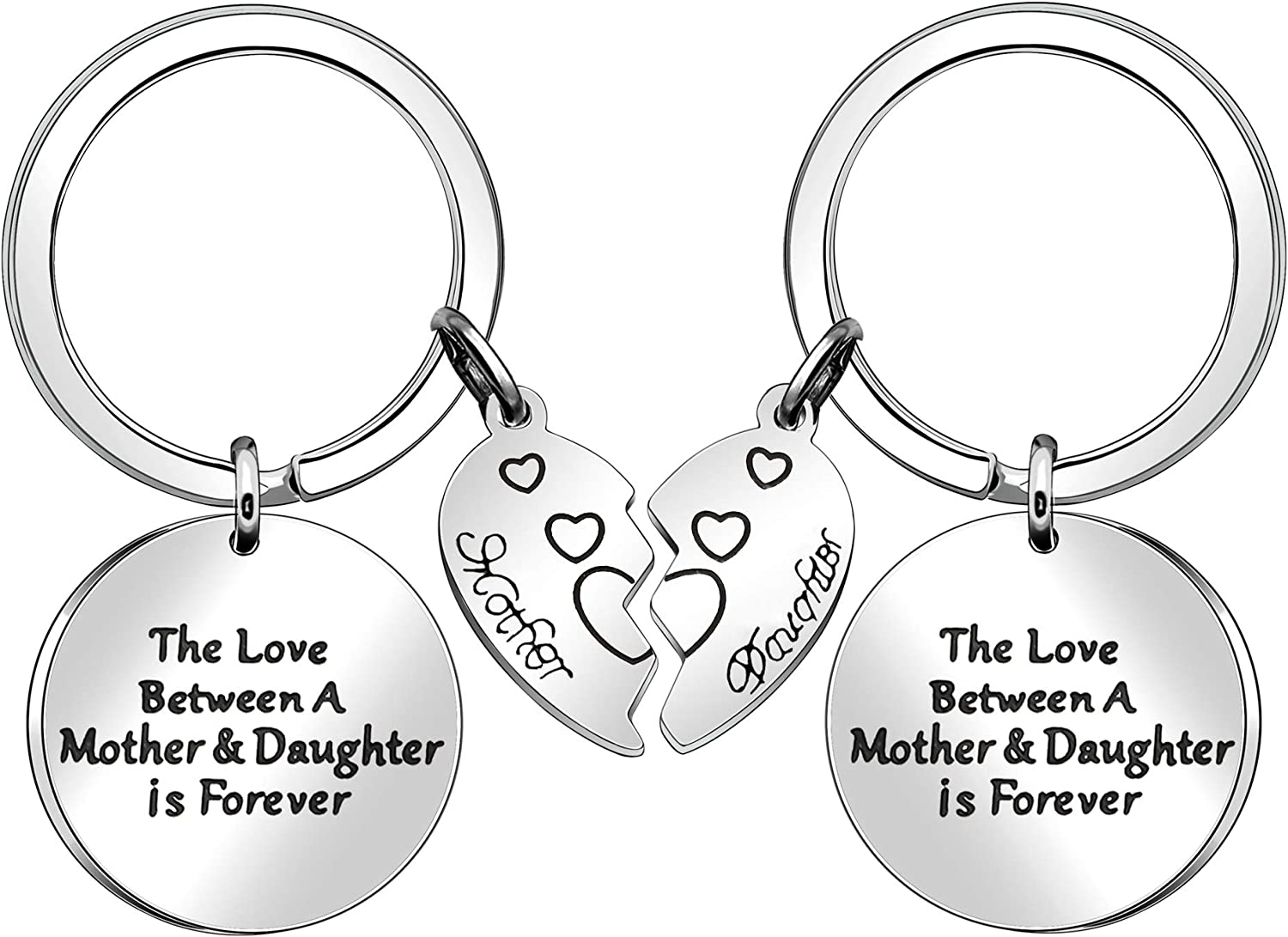 Los Angeles Mall JJIA Mother Daughter Gifts 2 Pcs for Cheap bargain Rings Keychains Key Women