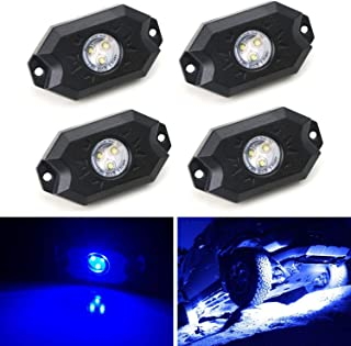 iJDMTOY (4) Universal Fit 3-CREE 9W High Power LED Rock Light Kit For Jeep Truck SUV Off-Road Boat, Ultra Blue