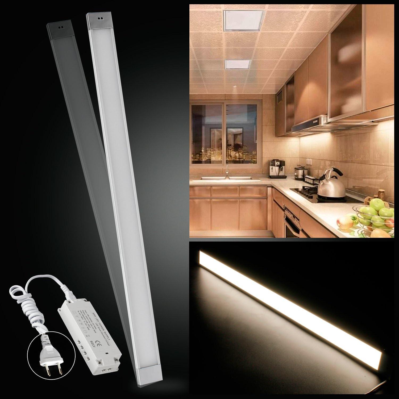LED Unterbauleuchte Lichtleiste LED Küchenleuchte Küchenlampe 12W 90cm Warmwei mit Transformator 1200LM Handbewegung-ON