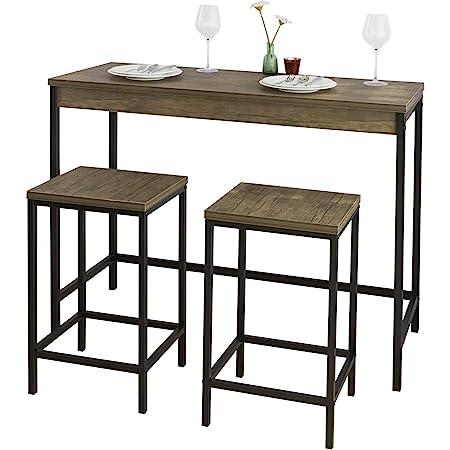 SoBuy OGT30-N Lot Table et Tabourets de Bar de Style Industriel Ensemble Table de Bar + 2 Tabourets Jeu de Bar Table Haute Chaise Haute