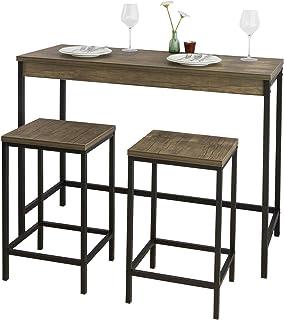 SoBuy stół z krzesłami stolik barowy stoły z krzesłami Brązowy zestaw 3-cz,OGT30-N