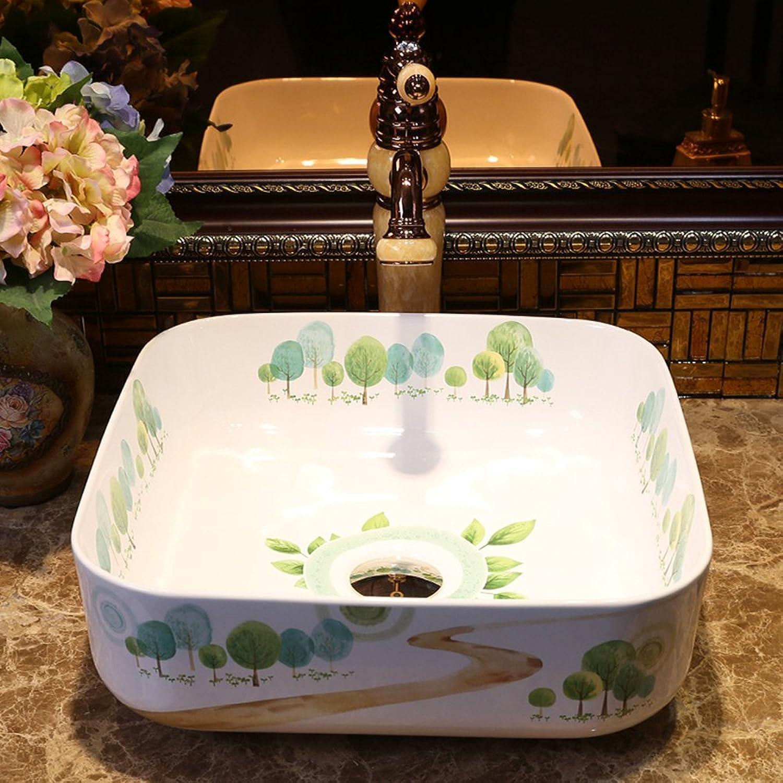 Badezimmer Quadratisch über Aufsatzbecken Keramik Waschbecken Garten Eitelkeit Waschbecken Becken Badezimmer Waschbecken