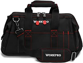 WORKPRO 16-inch Close Top Wide Mouth Tool Storage Bag with Water Proof Rubber Base,..
