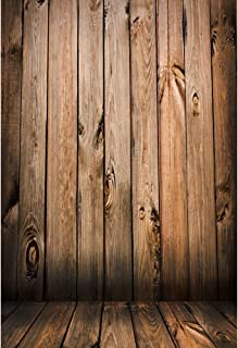Laeacco Personalisierbarer Fotohintergrund aus Vinyl, 90 x 150 cm, realistische Holzwand und Boden, 1 x 1,5 m