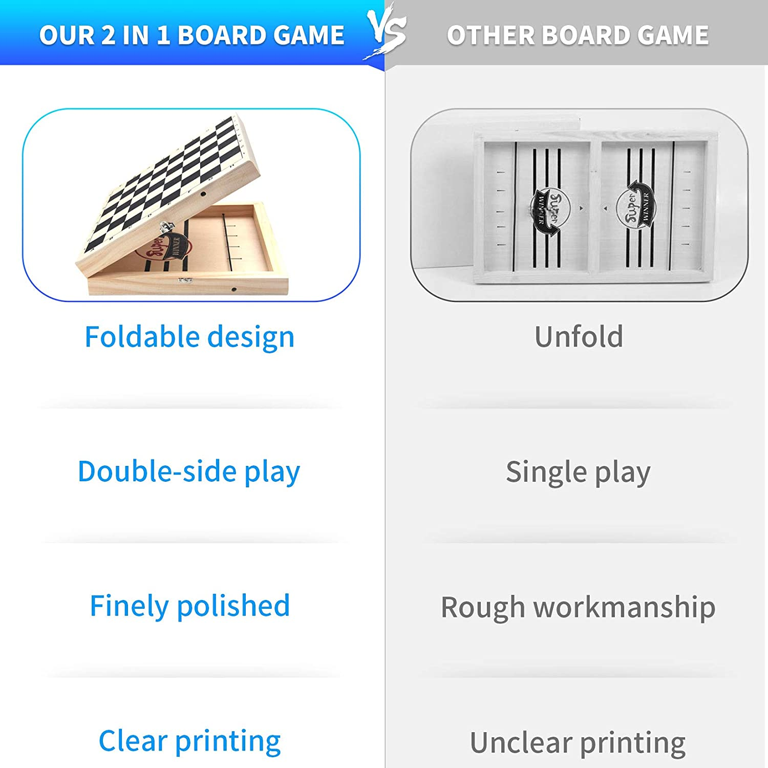 Wooden Fast Sling Puck Game Foosball Winner Board Game /& Chess Set for Kids and Adults 2-in-1 Hockey Games Travel Portable Folding Tabletop Chess Board Game Sets Parent-Child Interactive Chess Toy