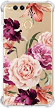 Huawei Mate SE Case,Huawei Honor 7X Case with Flower,LUOLNH Slim Shockproof Clear Floral Pattern Soft Flexible TPU Back Cover for Huawei Honor 7X (2017)/Mate SE(Purple)