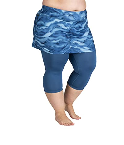 Skirt Sports Plus Size Lotta Breeze Capris Skirt (Lagoon Print/Deep Blue) Women