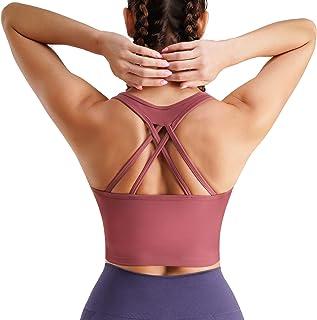 آموزش دختران زنان Strappy Racerback Yoga Sports Bra Longline Crop Top Camisole Wirefree Pads Medium Impact Workout Bras