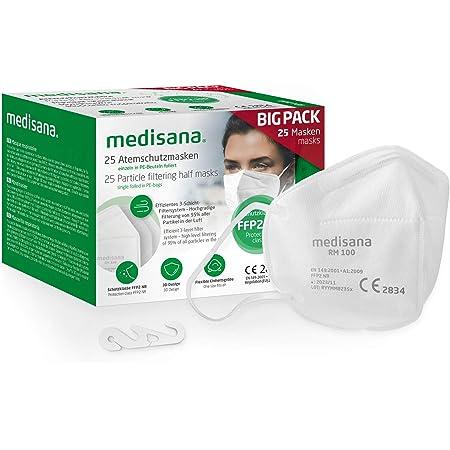 medisana FFP2 mascarilla de protección, RM 100, mascarilla respiratoria, contra el polvo, 25 piezas empaquetadas individualmente en bolsa de PE con clip - certificado CE2834 - UE 2016/425
