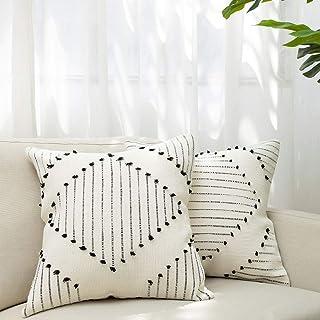 blue page Boho Neutral Diamond Decorative Throw Pillow Covers – Set of 2 Boho..